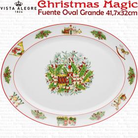 Fuente Ovalada grande decoracion Navidad Christmas Magic Vista Alegre