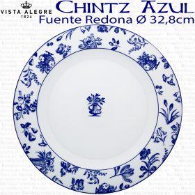 Fuente Redonda 32,8cm Ø Flores Vista Alegre CHINTZ AZUL