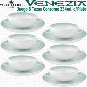Pack 6 Tazas Consomé con Plato VENEZIA Vista Alegre
