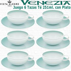 Juego 6 Tazas Té con Plato Vista Alegre Venezia Verde