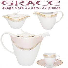 Juego Café Porcel 12 servicios (27 pzs.) Grace Rosa Nácar y Oro