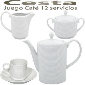 Juego Café elegante 12 servicios 27 piezas Vista Alegre Hollywood Cesta, servico de café barato.