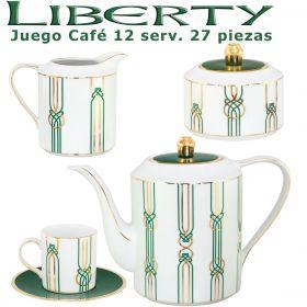Juego Café Porcel 12 servicios (27 pzs.) Liberty Verde y Oro diseño moderno
