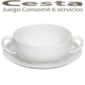 Juego Consomé 6 servicios (12 piezas) Cesta Vista Alegre, servicio de Café, Té y Consomé en nuestra tienda online especializada en vajillas, cristalerías y cuberterías, menaje de mesa y cocina