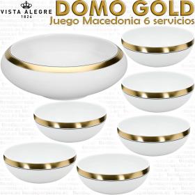 Vista Alegre Domo Oro Gold Juego Macedonia 6 servicios 7 piezas