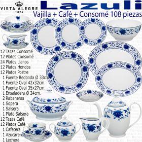 Vajilla + Café + Consomé 108 piezas Vista Alegre LAZULI