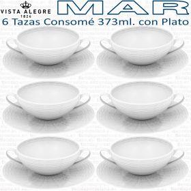 6 Tazas Consomé 373ml. con Plato Vista Alegre colección MAR