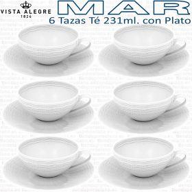 6 Tazas Té 231ml. con Plato Vista Alegre colección MAR