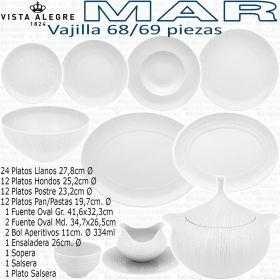 Vajilla 68 / 69 piezas Vista Alegre colección MAR