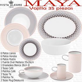 Vajilla 35 piezas con servicios Café, Té y Desayuno Vista Alegre MAYA
