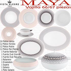 Vajilla MAYA Vista Alegre 66 - 67 piezas Completa composición con Platos de Pan/Pastas