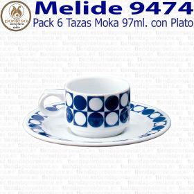Melide 9474 Pack 6 Tazas Café Moka 97ml. con Plato Pontesa / Santa Clara