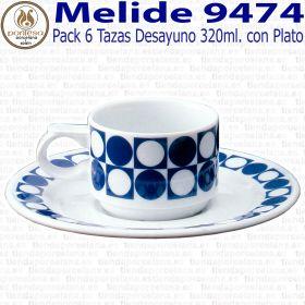 Pack 6 Tazas Desayuno 320ml con Plato Pontesa / Santa Clara Melide 9474