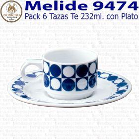 Pack 6 Tazas Té 232ml  con Plato Pontesa / Santa Clara Melide 9474