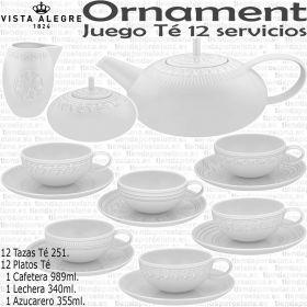 ORNAMENT Juego The completo 12 servicios 27 piezas Vista Alegre Porcelana Fina