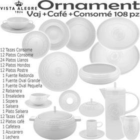 Ornament Vajilla con Café y Consome 12 servicios de mesa completos Vista Alegre