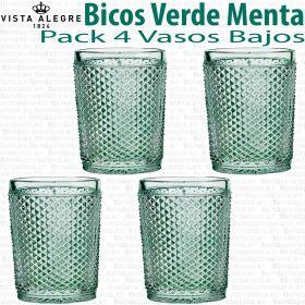 Pack 4 Vasos Bajos 10,7cm./280ml. Vista Alegre BICOS / PICOS VERDE MENTA