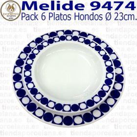 Pack 6 Platos Hondos 23cm Ø Pontesa / Santa Clara Melide 9474