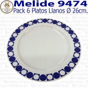 Pack 6 Platos Llanos 26cm Ø Pontesa / Santa Clara Melide 9474