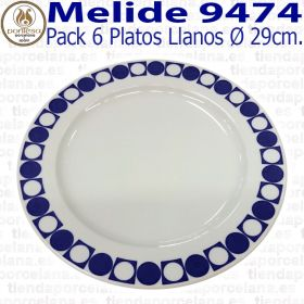 Pack 6 Platos Llanos 29cm Ø Pontesa / Santa Clara Melide 9474