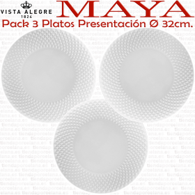Vista Alegre coleccion MAYA pack 3 Platos Presentación Bajoplatos