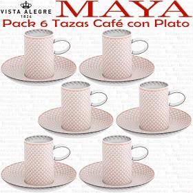 Juego 6 Tazas Café con Plato Vista Alegre MAYA