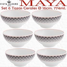 Vista Alegre MAYA juego de 6 Tazas Boles de Cereales 16 cm. de diámetro y 774 ml. de capacidad