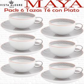 Vista Alegre MAYA juego 6 Tazas de Té con Plato