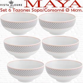 juego 6 Tazones Consomé Sopa diámetro 14cm porcelana vista alegre colección maya