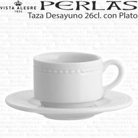 Taza Desayuno apilable con Plato 26 cl Vista Alegre Perla, taza para hogar y hostelería reforzada.