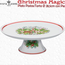 Plato / Bandeja Pastas / Tarta Ø 28,5cm con Pie Vista Alegre CHRISTMAS MAGIC