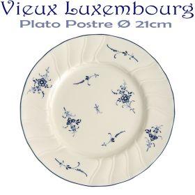 Plato Postre 21cm Ø Villeroy Boch ALT VIEUX LUXEMBURG Flores Azules Cobalto