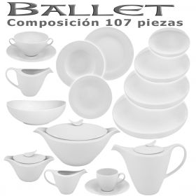 Vajilla + Café + Consomé Porcel 107 piezas Ballet Blanco Hogar y Hostelería