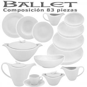 Vajilla + Juego Café Porcel 83 piezas Ballet Blanco Hogar y Hostelería