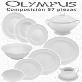 Vajillas Porcel 57 piezas Olympus Blanco Hogar y Hostelería Personalizable