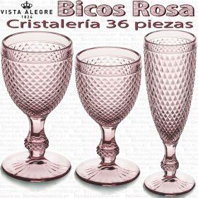 Cristalería 36 piezas Vista Alegre Picos / Bicos ROSA