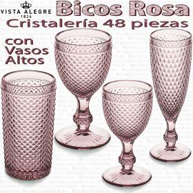 Cristalería 48 piezas con Vasos Altos Vista Alegre Bicos ROSA