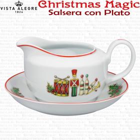 Salsera con Plato Vista Alegre CHRISTMAS MAGIC