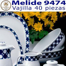 Vajilla 40 piezas Pontesa / Santa Clara Melide 9474 Azul Cobalto