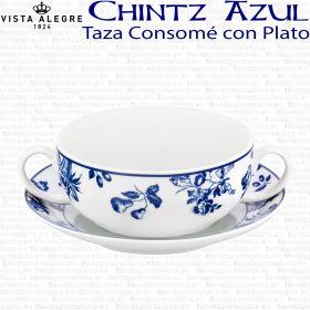 Taza Consomé con Plato Vista Alegre Flores Azul Cobalto CHINTZ