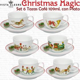 Juego 6 Tazas Navidad Café con Plato diseños diferentes Vista Alegre Christmas Magic