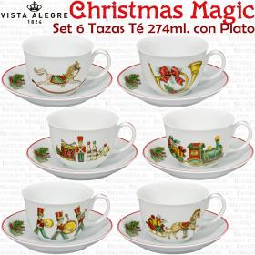 Juego de 6 Tazas de Té con Plato 6 dibujos Navidad diferentes Christmas Magic