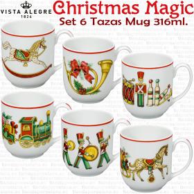 Juego 6 Tazas Mug Desayuno Decoracion Navidad Vista Alegre Christmas Magic