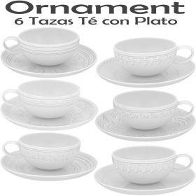 Ornaments Vista Alegre Vajilla y Servicios Café, The y Consomé, 6 Tazas Té con Plato