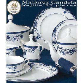 Vajilla 57 piezas Pontesa Santa Clara Mallorca Candela Flores Azul Cobalto