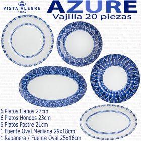 Azure Lux oferta corte ingles Vajilla 20 piezas Vista Alegre Azul Cobalto uso diario