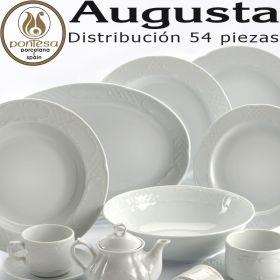 Composición de vajilla de 54 piezas, vajilla completa para diario, es de Porcelana Blanca dura y resistente, Vajillas Augusta de Santa Clara Pontesa.