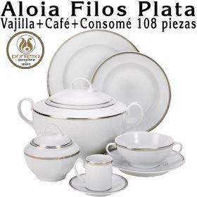 Aloia Filos Plata Pontesa 108 piezas Vajillas más Café más Consomé