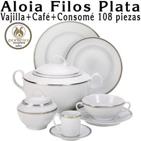 Aloia Filos Plata Pontesa 108 piezas Vajilla + Café + Consomé