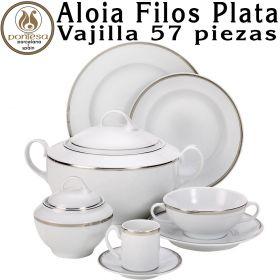 ALOIA FILOS PLATA Vajilla 57 piezas Porcelanas Pontesa
